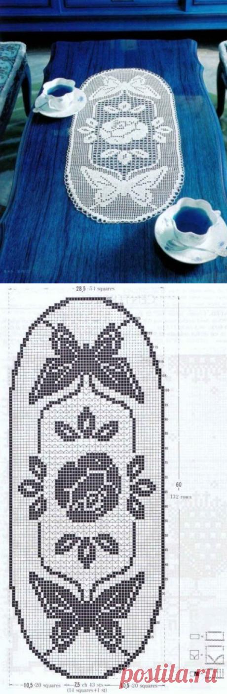 """Филейная салфетка """"Роза и бабочки"""" из категории Интересные идеи – Вязаные идеи, идеи для вязания"""