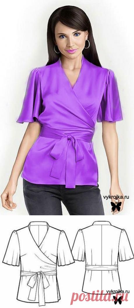 Блузка с запахом. Выкройка блузки с запахом скачать бесплатно. Страница 0