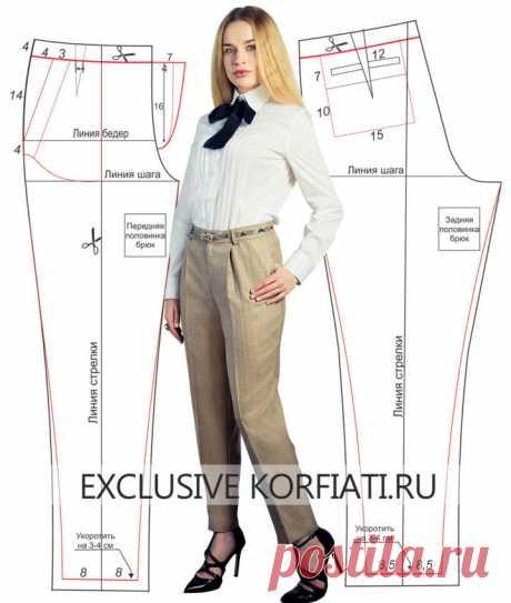 Шьем зауженные брюки по простой выкройке  https://korfiati.ru/2014/04/vyikroyka-zauzhennyih-bryuk/  Эти очаровательные зауженные брюки – идеальный модный комби-партнер к любому топу или пиджачку. Ни одной моднице без таких брючек просто не обойтись. Укороченные и зауженные книзу, брюки идеально облегают фигуру за счет мягких складок и одновременно позволяют продемонстрировать красивую обувь. Скомбинируйте такие брюки с коротким жакетом, подходящим по цвету – и эффектный об...