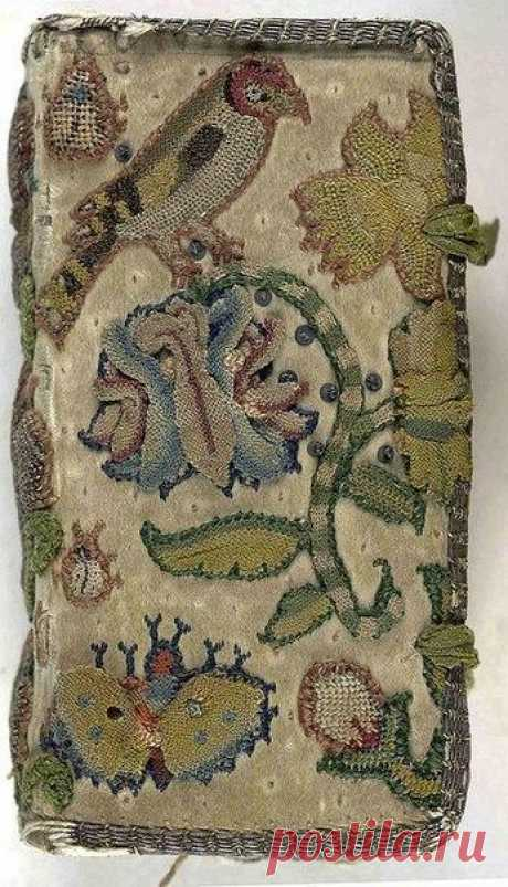 The covers of books decorated with a manual embroidery. Western Europe, 17th century.