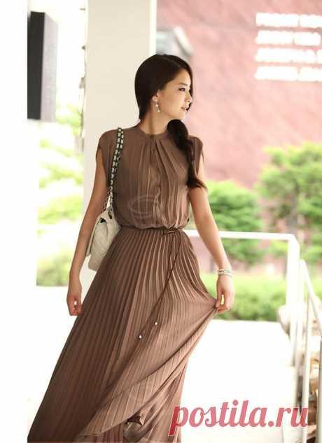 Gamiss ® Ретро Стиль Solid Color рукавов высокого качества шифоновое платье макси для женщин (кофе, M) | Sammydress.com, 593 руб.