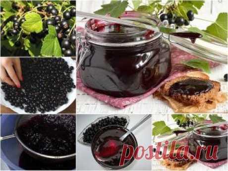 Желе на зиму из черной смородины  Желе получается очень вкусным и хорошо хранится. Аналогичным способом можно приготовить желе из красной смородины.  Ингредиенты:  - 1 кг черной смородины, - 1,5 кг сахара, - 200 мл воды.  Приготовление:  1. Ягоды перебрать, удалить веточки и листья.  2. Всыпать чистые ягоды в емкость для варки. Влить 200 мл воды. Довести до кипения и варить в течении нескольких минут.  3. Протереть ягоды через сито.  4. Перемешать протертые ягоды с сахаром...