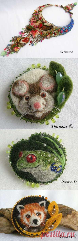 Вышивка бисером на войлоке от Sandra Kermorvant.