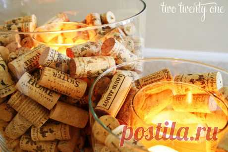 Wine Cork Candle Holder - Two Twenty One How to make a wine cork candle holder.