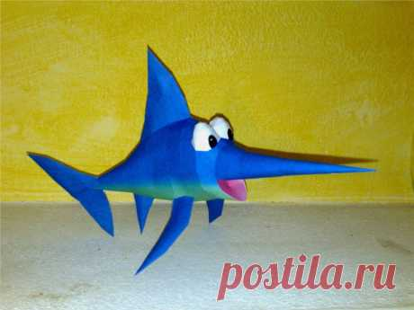 Enguarde the swordfish papercraft Enguarde the swordfish from donkey kong country games. Designed and built by me. This is the download