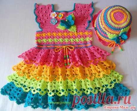 Платье на девочку 3-4 лет.(Все схемы нашла в интернете)   Детская одежда крючком. Схемы
