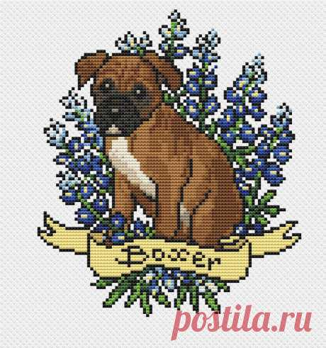 Dog cross stitch pattern PDF/ boxer funny needlepoint counted | Etsy