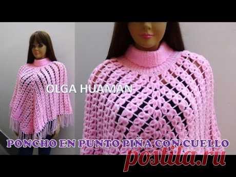 Poncho tejido a crochet en punto piña paso a paso para damas