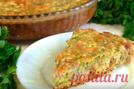 Заливной пирог ( запеканка) с курицей и кабачком