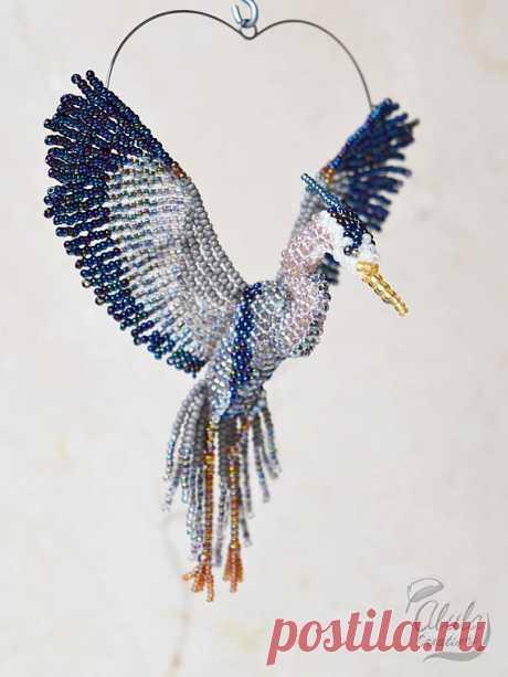 Blue Heron B Suncatcher Beaded Bird Ornament Window Decor