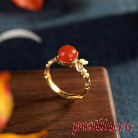 Agate inlay ring 925 silver plated gold ring   Etsy