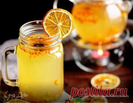 Пряный чай с облепихой, имбирем и специями, рецепт с ингредиентами: облепиха замороженная, имбирь корень, бадьян