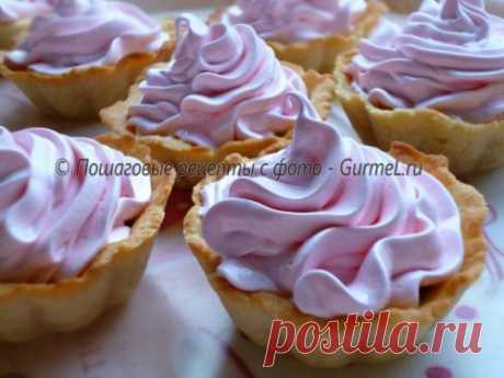 """""""Корзиночка&quot cakes; with proteinaceous cream. The recipe with a photo. Step-by-step photos. Gurmel"""