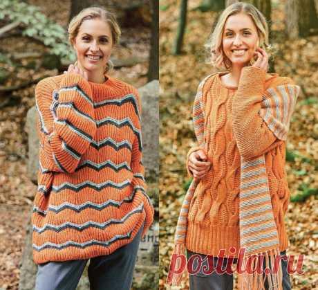 Вязаные пуловеры из октябрьского номера Сабрина 10/2021. Лучшие модели выпуска  пуловер из мягкой и нежной пряжи, которая придает модели женственность и романтичность, пуловер в классическом стиле и пуловер с эффектным ажуром.