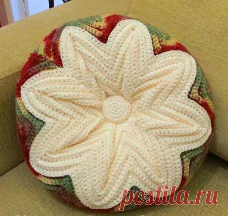Декоративная подушка крючком узором зигзаг. МК | Вязаные крючком аксессуары