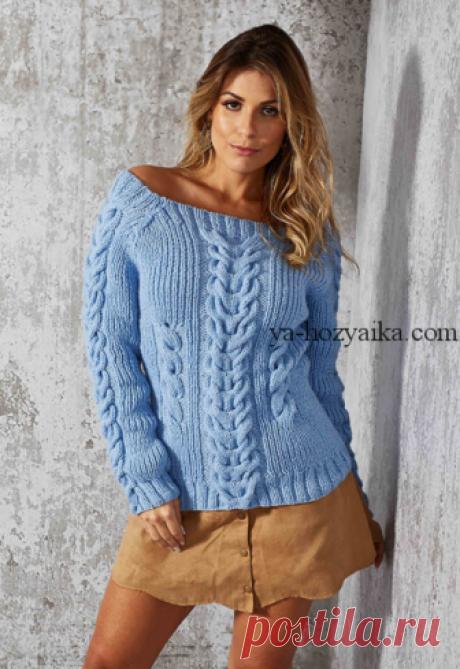 Пуловер с объемными схемы. Пуловер с открытыми плечами спицами схемы Вяжем спицами красивый пуловер с объемными косами. Как связать модный пуловер спицами