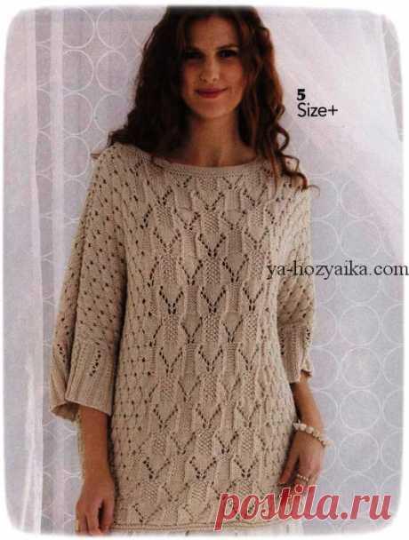 Пуловер спицами с глубоким вырезом на спинке. Пуловер с ажурными узорами спицами