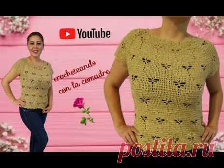 blusa elegante tejida a crochet con puntada libelulas parte#1crocheteando con la comadre💖💋