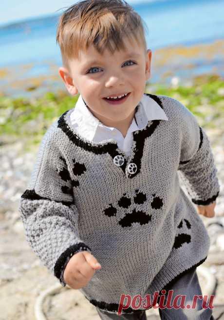 Cерый пуловер с мотивом «лапы» - схема вязания спицами. Вяжем Пуловеры на Verena.ru