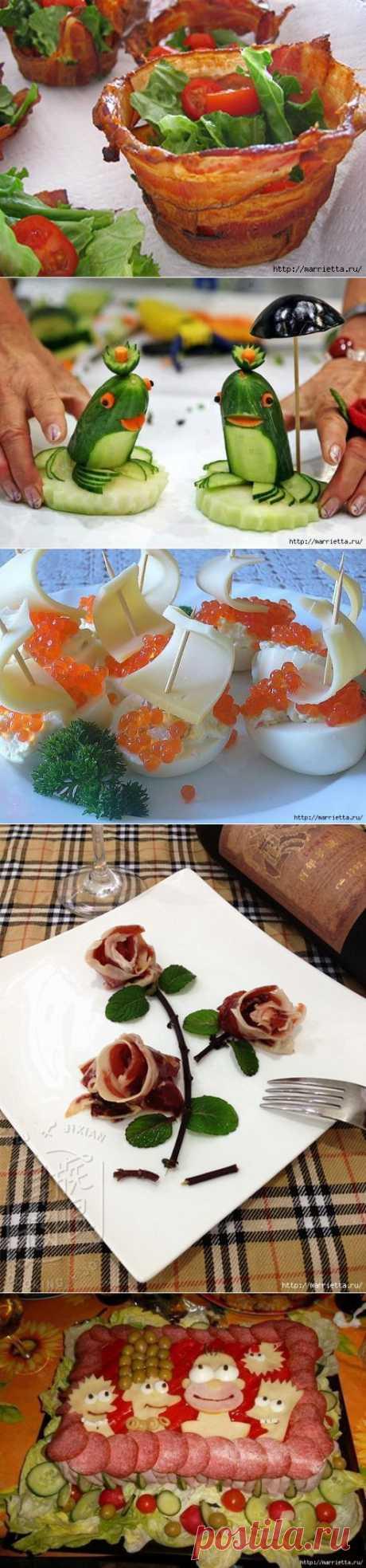 Розы и корзинки из ветчины, тюльпаны из помидоров и другие красивые вкусности.