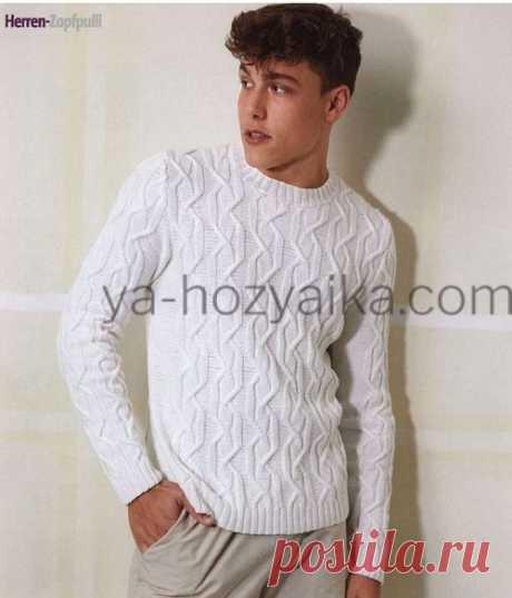 Мужской джемпер спицами 2020. Белый мужской пуловер с рельефным узором
