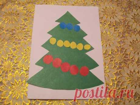 ПРОСТАЯ НОВОГОДНЯЯ АППЛИКАЦИЯ из цветной бумаги для детей: елочка. Пошаговая фото-инструкция | Семья и мама