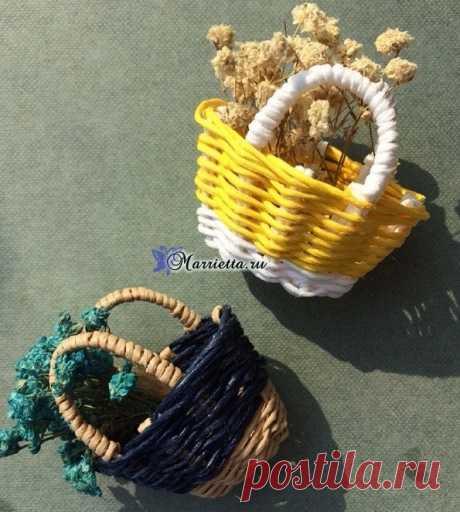 Плетение корзинки из проволоки в бумажной обмотке