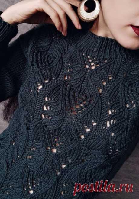 Джемпер с ажурным узором спицами - Красивое вязание