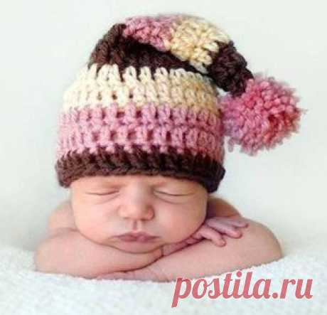 Шапочка-колпак для новорожденного малыша крючком - описание, схемы+фото