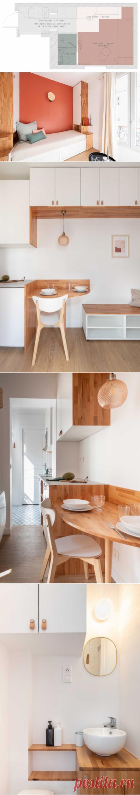 До и после: Переделка студии 14 кв.м во французском Клиши | Houzz Россия