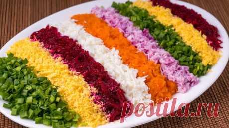 Новогодний салат Радужный с селедкой