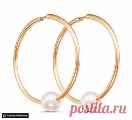 Серьги кольца из жемчуга искусственного ручной работы купить в Минске и Беларуси, цены на HandMade