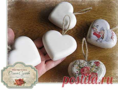Гипсовые сердечки от Ольги Суховой