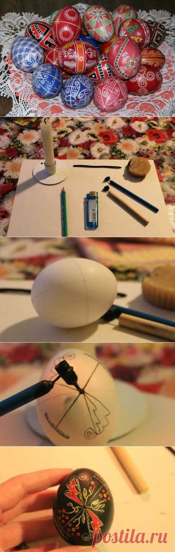 Роспись яиц в технике писанка.
