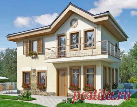 Проект двухэтажного дома AS-1624 из ячеистобетонных блоков с балконом и двумя спальнями
