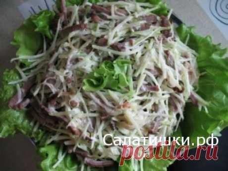 МЯСНОЙ САЛАТ С МАРИНОВАННЫМИ ГРИБАМИ | Рецепты вкусных салатов