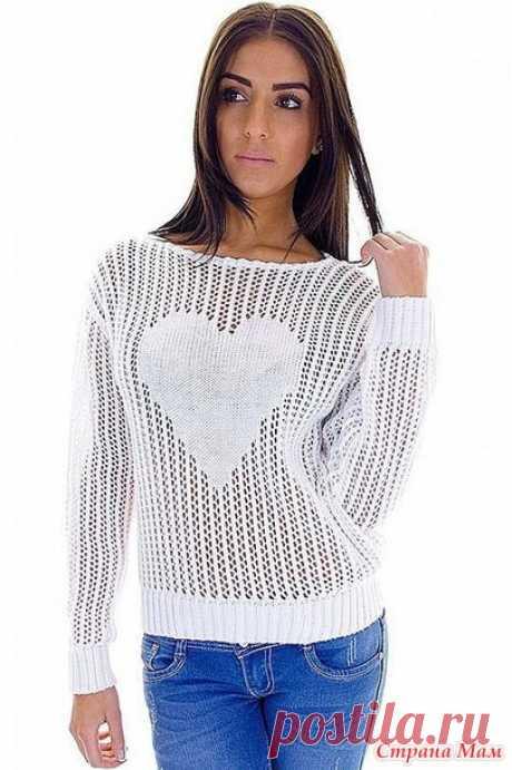 Ажурный пуловер с сердцем. - Вяжем вместе он-лайн - Страна Мам