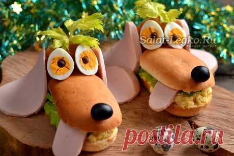 Бутерброды «Собачки» на Новый год 2018, рецепт с фото