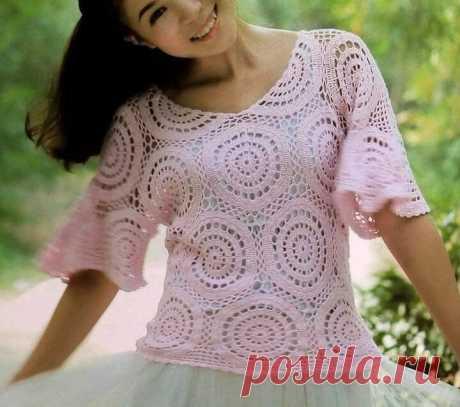 Ажурная блуза из простых круглых мотивов. Крючком. Схемы. / knittingideas.ru