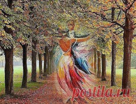 Я видел осень,,, Она целовалась с дождём,,, В объятиях нежных друг друга они дополняли,,,  По парку вечернему шли беззаботно вдвоём.  Дыханием ветра листву шаловливо срывали,,,   Десятки прохожих бежали с зонтом от дождя,  А он улыбался любимой единственной леди,  Что золотом мир украшает, к нему приходя,  В красивых сапожках с отливом блистающей меди,,,  Он в сером плаще, а она в ярко-жёлтом пальто,,, Он с грустью в глазах, а она с озорною улыбкой,,, И сколько продлится р...