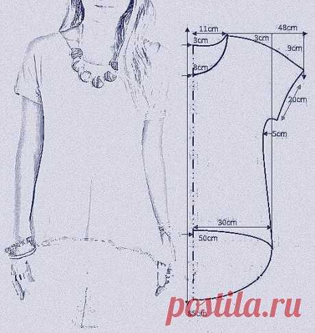 Выкройка футболки со скошенным низом Модная одежда и дизайн интерьера своими руками