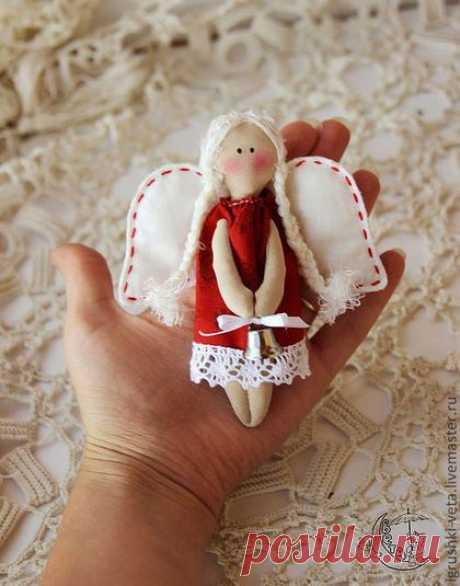Купить Ангелочки - талисманчики - ярко-красный, ангелочки, новогодние ангелы, новогодний сувенир, ангел тильда