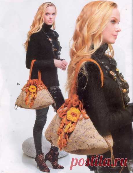 Сумка спицами и крючком в стиле БОХО с розой. Журнал Мод Вязание № 585