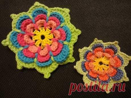 Volume flower Knitting by a hook of Volumetric flower Crochet