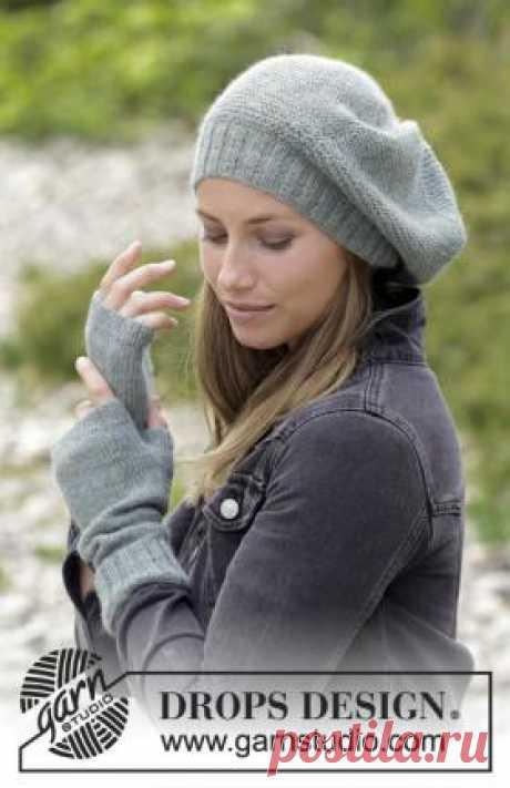 Комплект зимний покой Простой комплект спицами для женщин, который состоит из шапки по типу берета и митенок. Шапка и митенки связаны из тонкой...