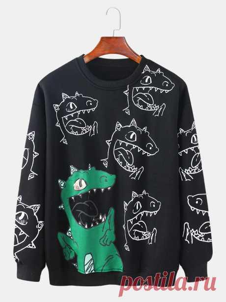Mens Cartoon Dinosaur Print Pullover Long Sleeve Cute Cotton Sweatshirts - US$29.99