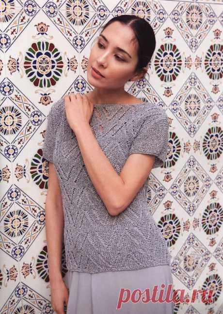 Блузка-топ Аура узором Зиг-Заг для женщин спицами – схема с описанием вязания