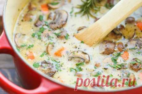 Cheese chicken and mushrooms soup - Perchinka the hostess