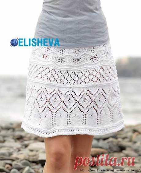 Нарядная юбка из хлопка от Drops Design вязаная спицами