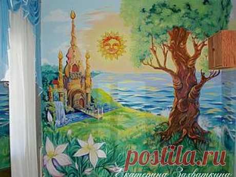 Рельеф из шпаклевки и настенная роспись. МК Екатерины